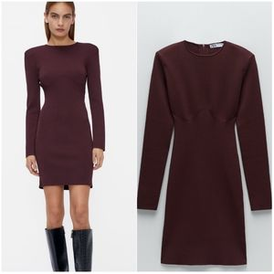 NWT ZARA | Knit Mini Dress Dark Burgundy